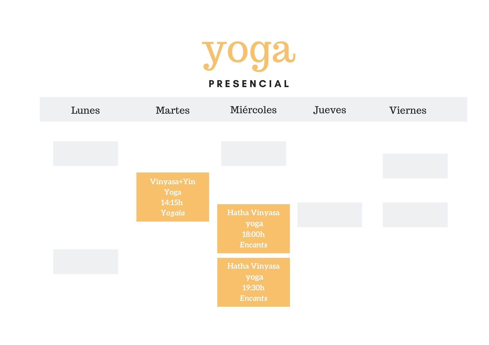 Horarios sesiones de yoga presencial